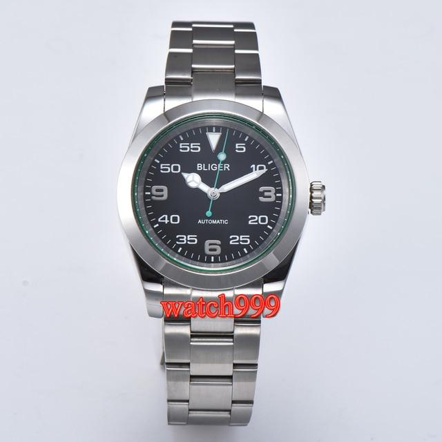 40mm BLIGER זוהר מכאני גברים שעון ספיר קריסטל שחור חיוג אוטומטי mens שעון