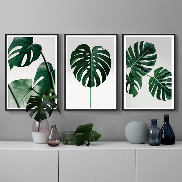 Monstera Painting Nordic Poster Canvas Wall Art Print Modern Home Decor Green Plants Picture 3 Piece