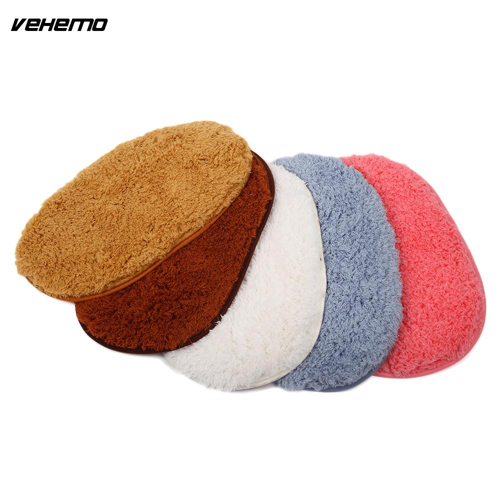 Vehemo Car Floor Mat Automobile Door Mat Front Rear Replacement Cleaning Oval Polyester Pad Car Interior Decoration Accessories