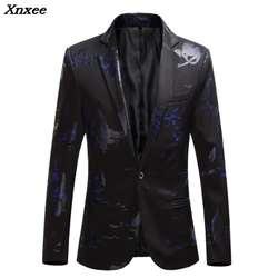 Большие размеры 5XL 6XL Модные мужские облегающие повседневные мужские блейзеры купальные костюмы с принтами пальто мужская одежда белый