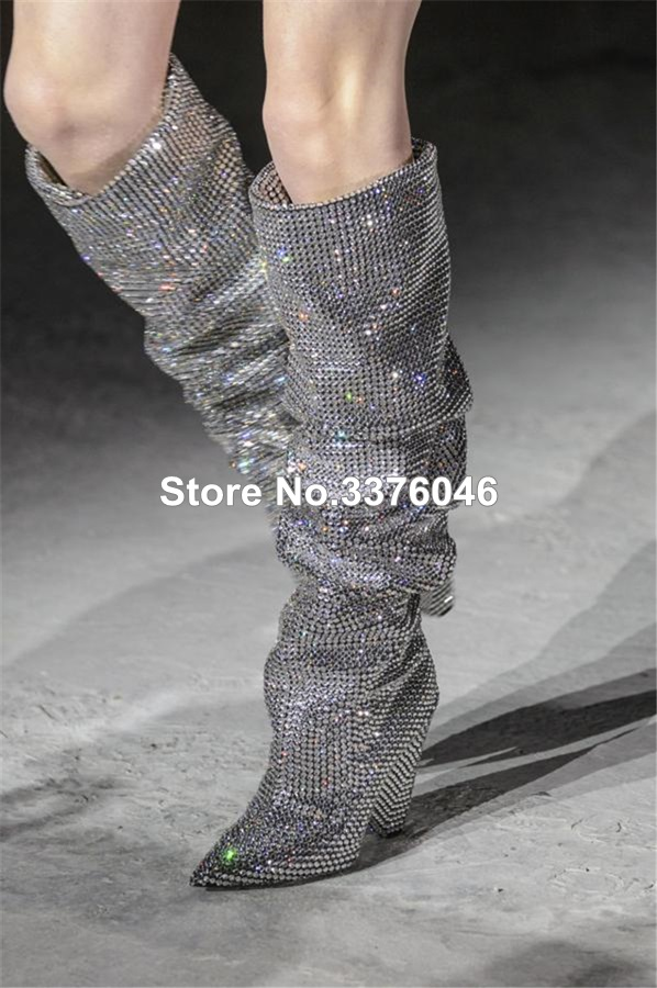 Top Brand Spike Heel Bling Bling Pointed Toe Nightclub Tall Boots Luxurious Knee High Loose Pleated Rhinestone Long Boots
