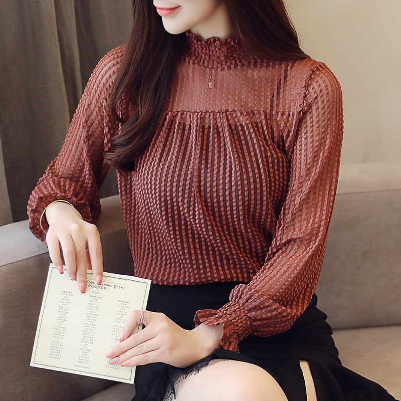 GABERLY Classic Chiffon Openwork lace Long Lantern Sleeve Turtleneck Loose   Blouse     Shirt   Autumn 2018 Blusas Women   Blouse   tops