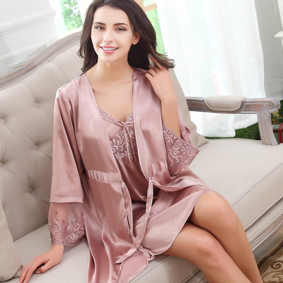 e970f65bb605 Send wife summer sexy silk spaghetti strap nightgown robe twinset sexy  sleepwear female quality lounge free shipping-in Pajama Sets from Underwear  ...