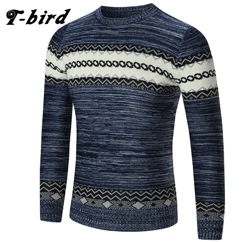 T-Bird 2018 Fashion Brand Clothing Men Geometric Patterns Sweater O-Neck Slim Fit Casual Pullover Men Sweaters Knitting Mens