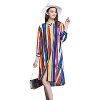 CAGGEEN Europe Style 2017 Summer New Women Ink Hit Color Stripe Silk Dress Single Breasted Atmosphere