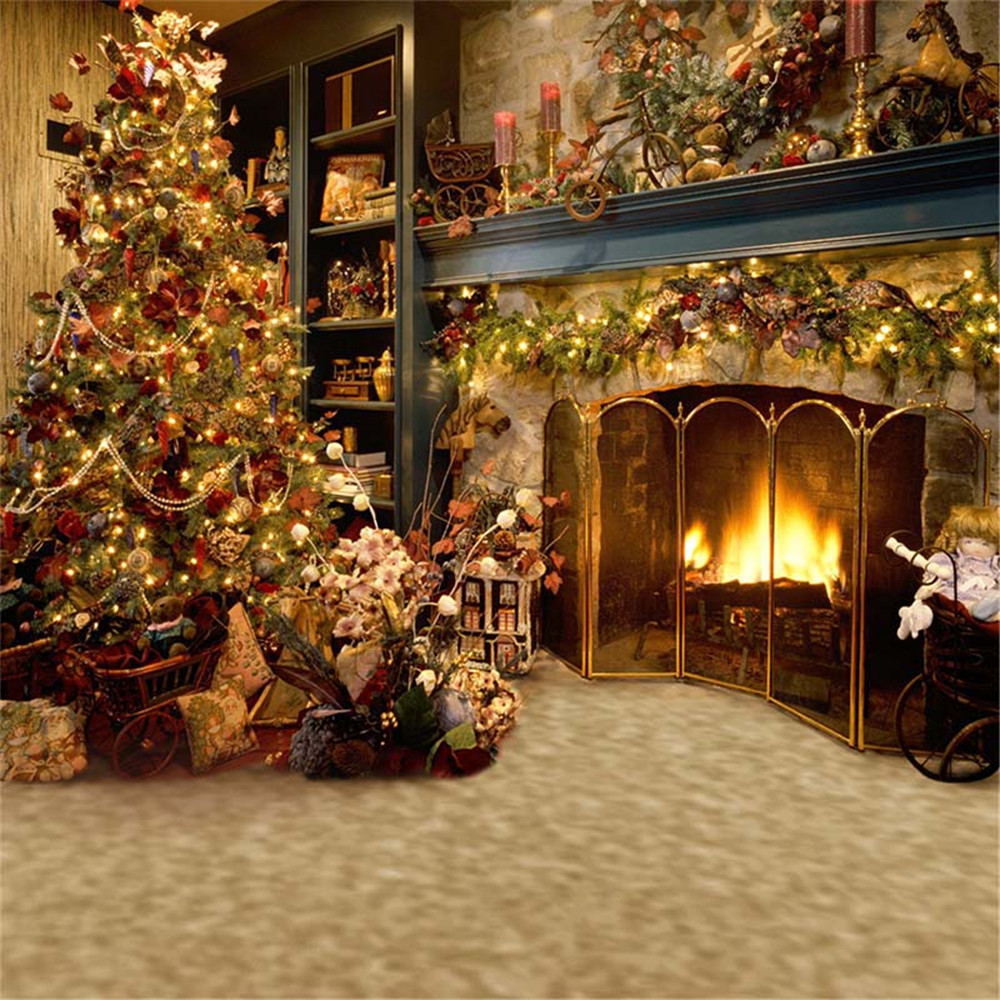 Indoor Fireplace Christmas Tree Photography Background