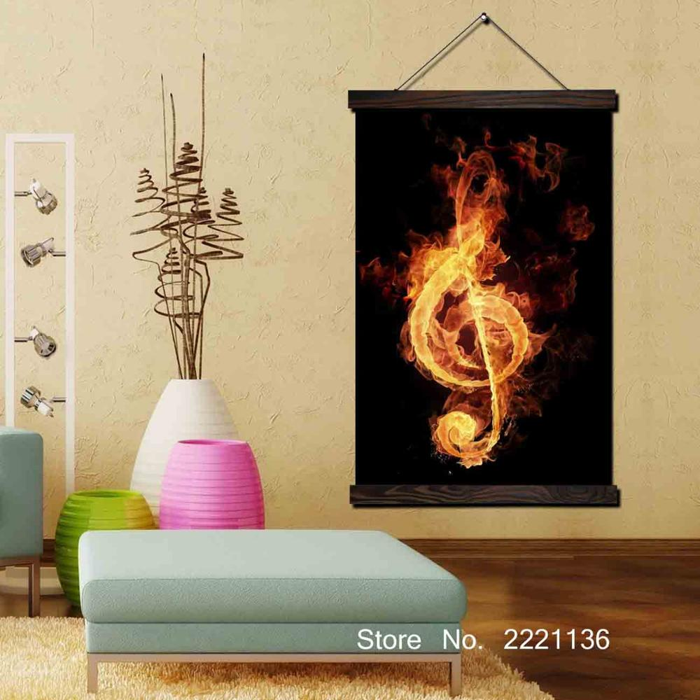 Fire Music Note Framed Scroll Painting Wall Art Hanging Canvas ...