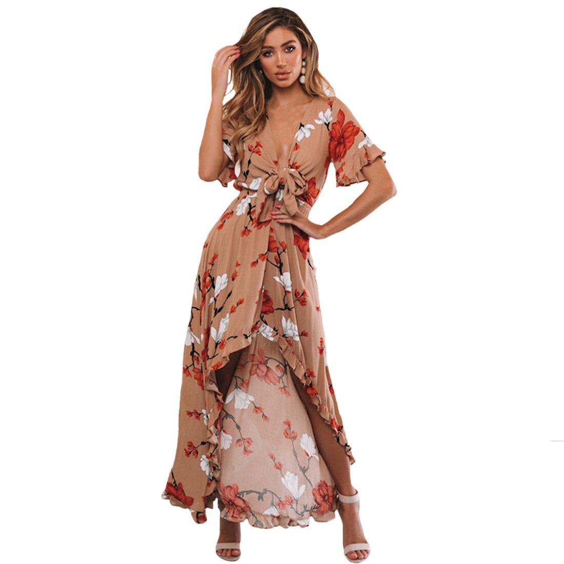 Эластичная летняя с высокой талией, глубокий v-образный вырез, вечернее платье с рюшами, женские платья, Длинные Сексуальные вечерние, спере...