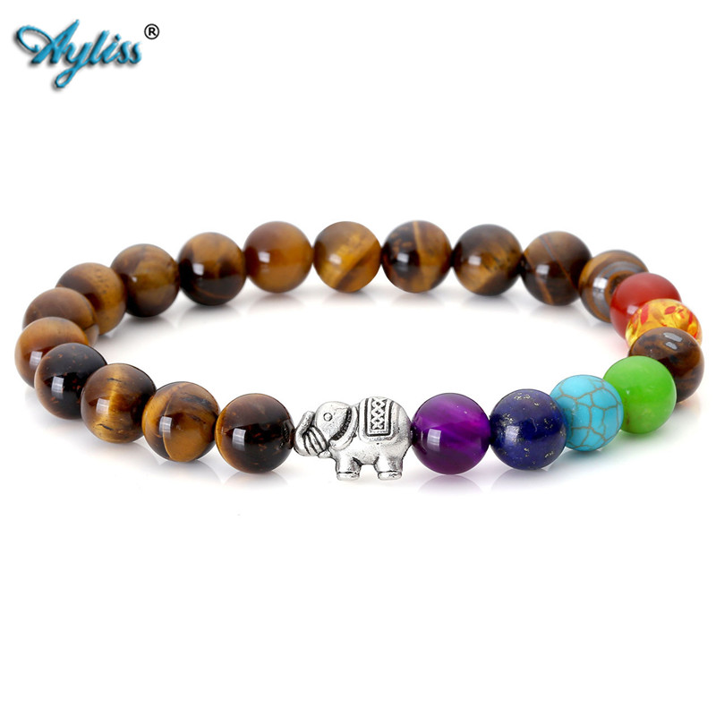 Ayliss Hot Type 7 Stones Chakra Healing Tiger Eye Stone Rock Buddha Hamsa Hand Yoga Reiki Prayer 8mm Bead Stretch Bracelet 1pc
