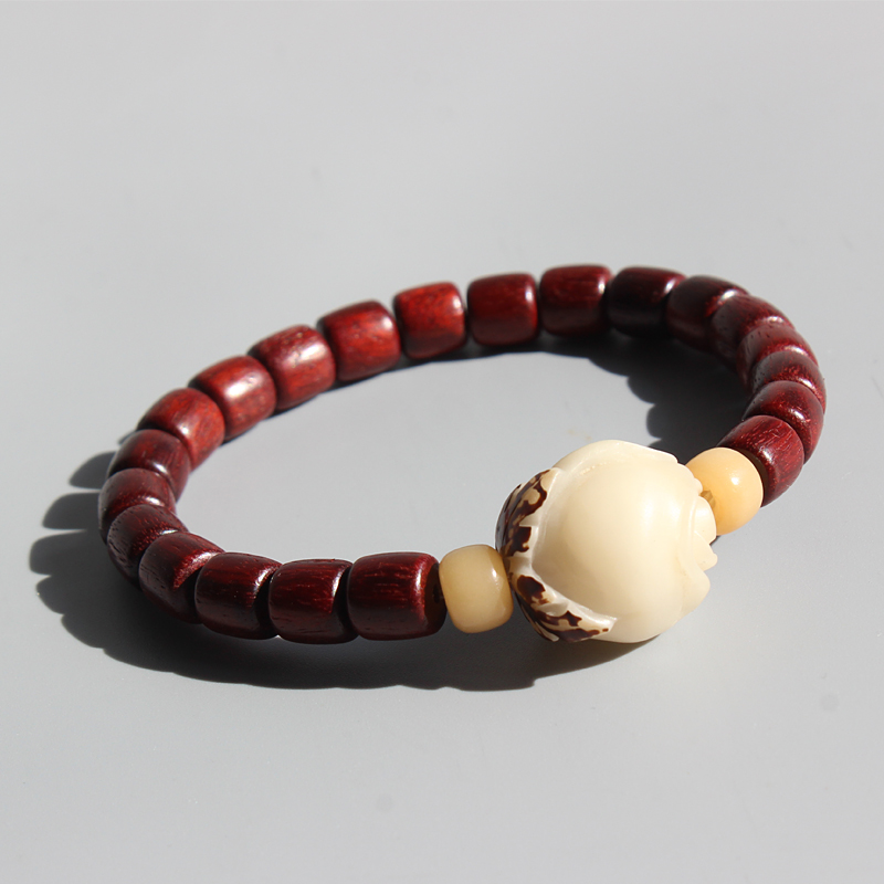 Wholesale Natural Red Sanders Wood Beads Bodhi Seed Carved Rose Charm Bracelets For Women Wrist Jewelry Handmade Chrismas Gift