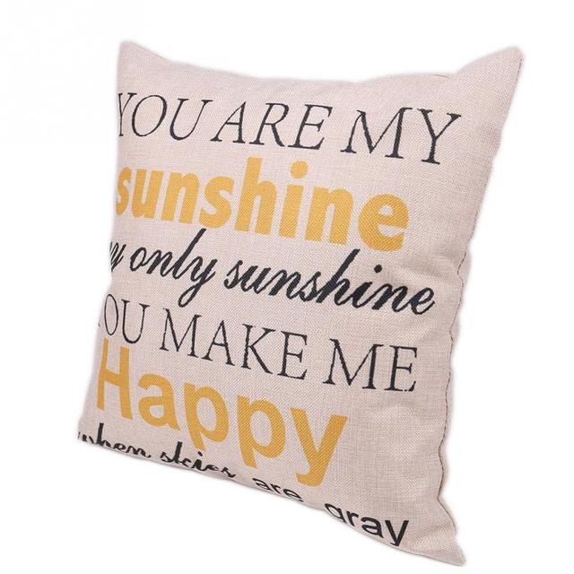 YOU ARE MY SUNSHINE YOU MAKE ME HAPPY Fashion Letter Linen Throw Extraordinary You Are My Sunshine Decorative Pillow