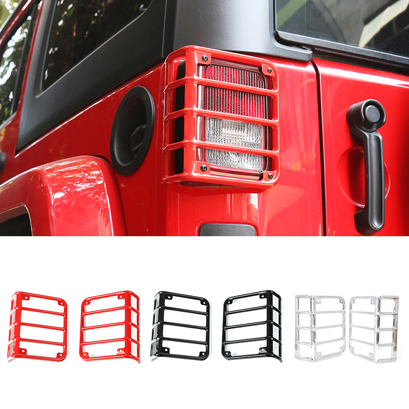 MOPAI Strengthen Style Car Tail Light Cover Metal Rear Lamp Cover Exterior Protection for Jeep Wrangler