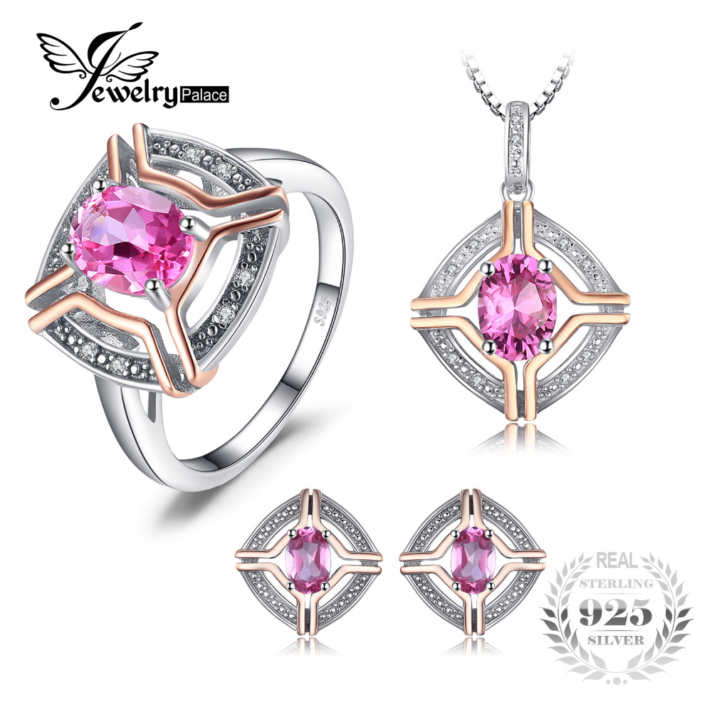 JewelryPalace Vintage 4ct Oval Pink Topaz Ring Pendant Necklaces Stud Earrings Plated Rose Gold Jewelry Sets 925 Sterling Silver starry pattern gold plated alloy rhinestone stud earrings for women pink pair