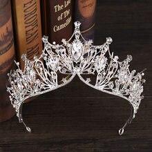 De lujo de plata Color grande de cristal claro princesa diadema de diamantes de imitación de coronas de novia Tiaras para fiesta de boda
