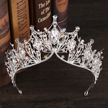 New Luxury Silver Large Big Clear Crystal Princess Queen Diadem Rhinestone Bridesmaid Bride Crowns And Tiaras For Wedding Party