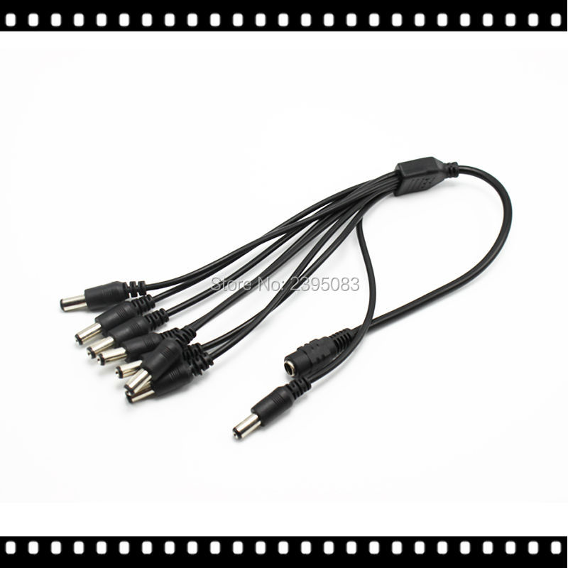 CCTV Security Camera 2 1mm 1 to 8 Port Power Splitter Cable Pigtails 12V DC
