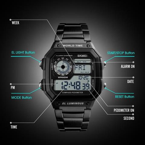 Countdown Compass Sport Watch SKMEI Mens Watches Top Brand Luxury Wrist Watch Men Waterproof LED Electronic Digital Male Watch Islamabad