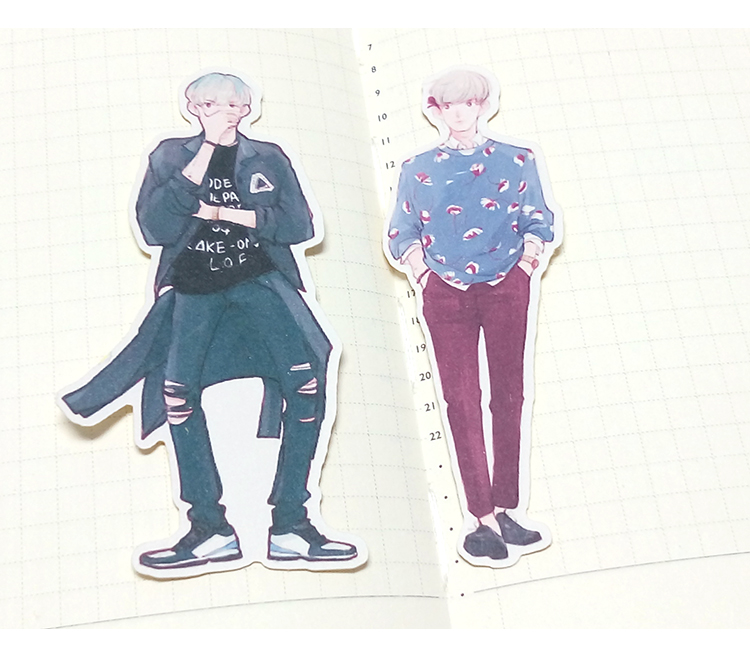 13pcs Creative cute self made EXO cartoon boy man stickers scrapbooking stickers decorative sticker