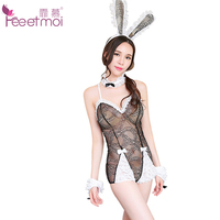 Feeetmoi Transparent Bunny Girl Teddy Sexy Lingerie Set Women Lace Back Strap Deep V Neck Babydolls
