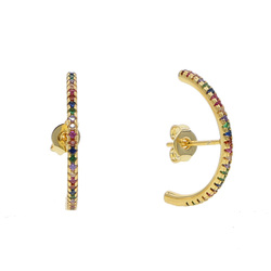Gold color micro pave cz bar circle geometric long studs girl women fashion jewelry earrings