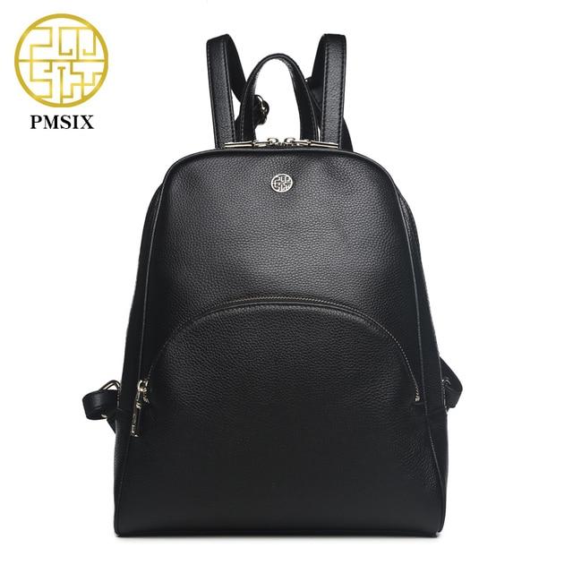 Pmsix черный Пояса из натуральной кожи Для женщин рюкзак натуральная кожа модные Брендовая Дизайнерская обувь Повседневное рюкзак P910004