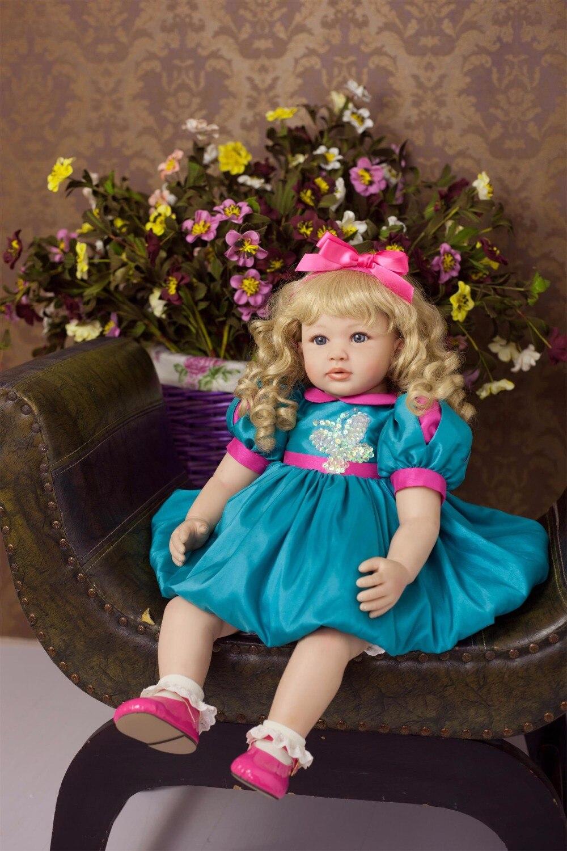 fashion blond hair Silicone Reborn Baby Doll Toys Like Real blue eyes Princess Toddler Babies Dolls Girls Bonecas lol doll party