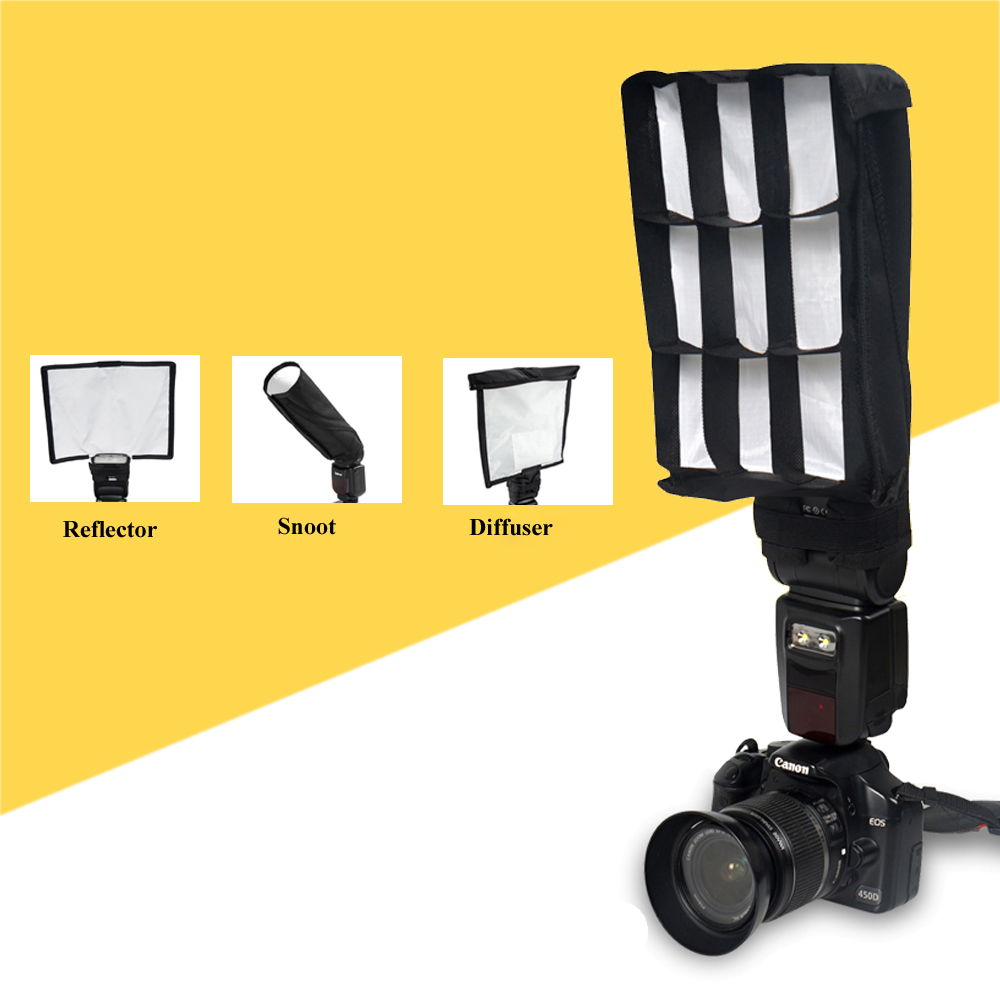 Universal Multifunction Foldable Flash Reflector Snoot Diffuser Softbox Honeycomb Grid For Canon Nikon Sony Yongnuo Pentax In From