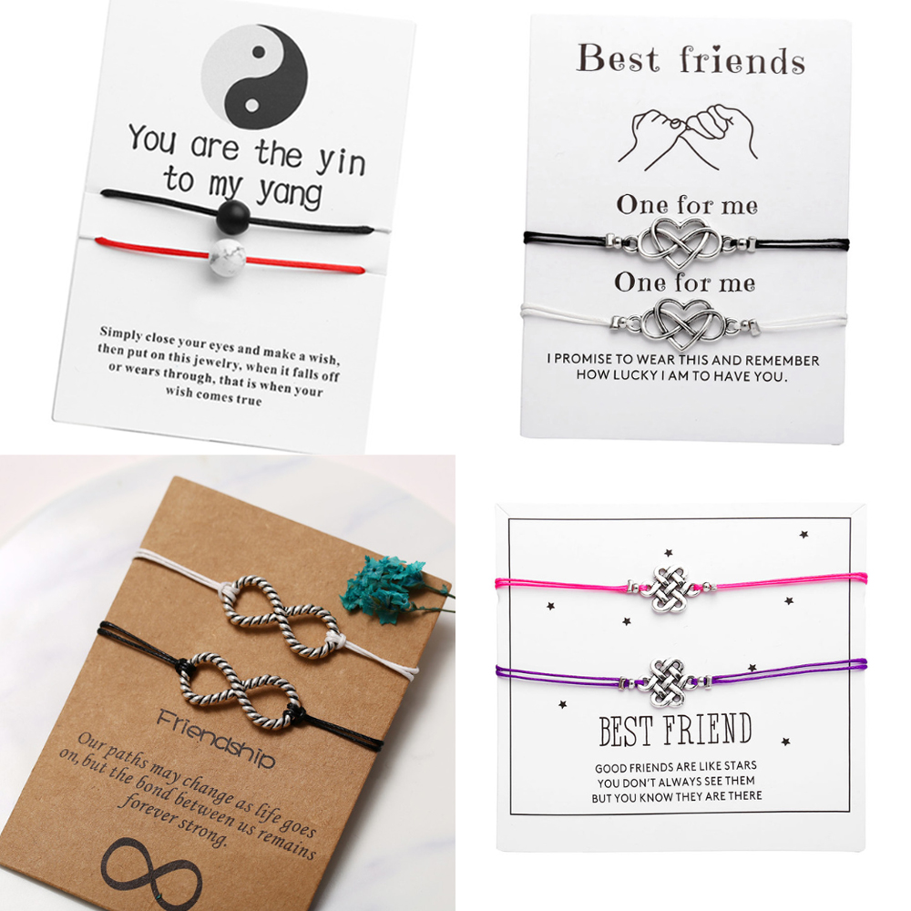 17KM Bracelets-Set Jewelry Message-Card Couples Wish Infinite-Stone Best-Friend Fashion