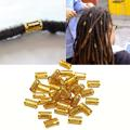 34pcs/pack Gold Plated Hair Braid Dread Dreadlock Beads Adjustable Braids Cuff Clip 8MM Hole Micro Ring Bead DIY Hairstyling