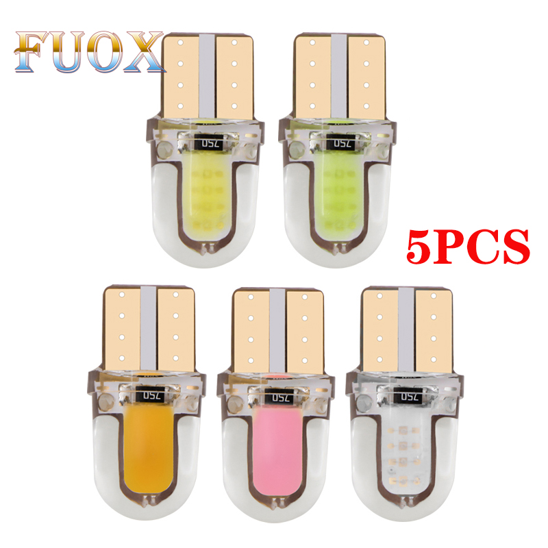 5pcs <font><b>LED</b></font> <font><b>W5W</b></font> T10 194 168 <font><b>W5W</b></font> <font><b>COB</b></font> 8SMD <font><b>Led</b></font> Parking Bulb Auto Wedge Clearance Lamp <font><b>CANBUS</b></font> Silica Bright White License Light Bulbs image