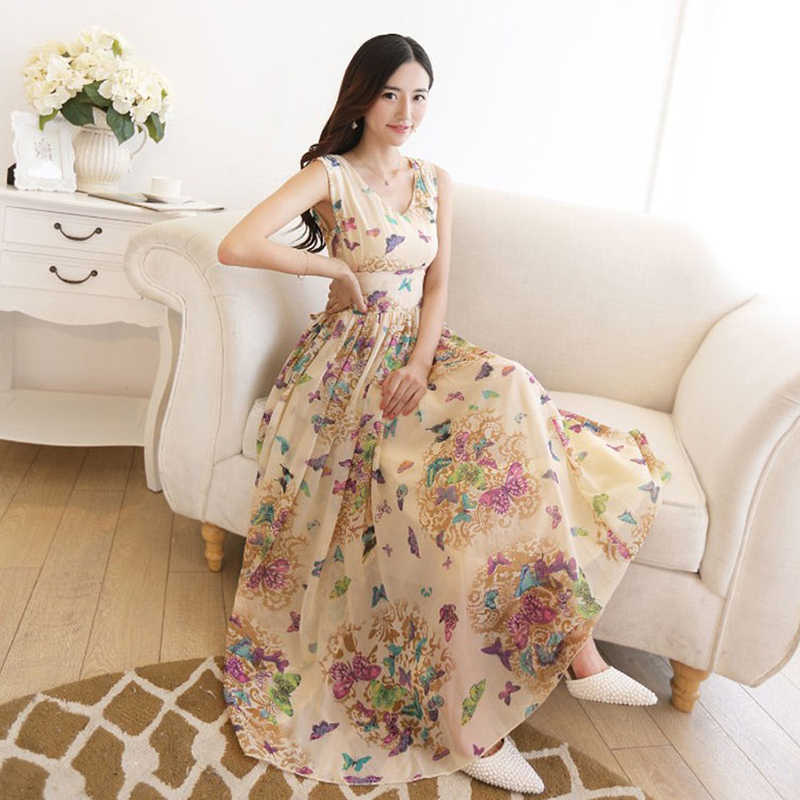 6e05dbd2995d ... Summer Bohemian Sleeveless Dresses Ladies Chiffon Dress Floral V-neck  Ankle-Length Women Dress ...