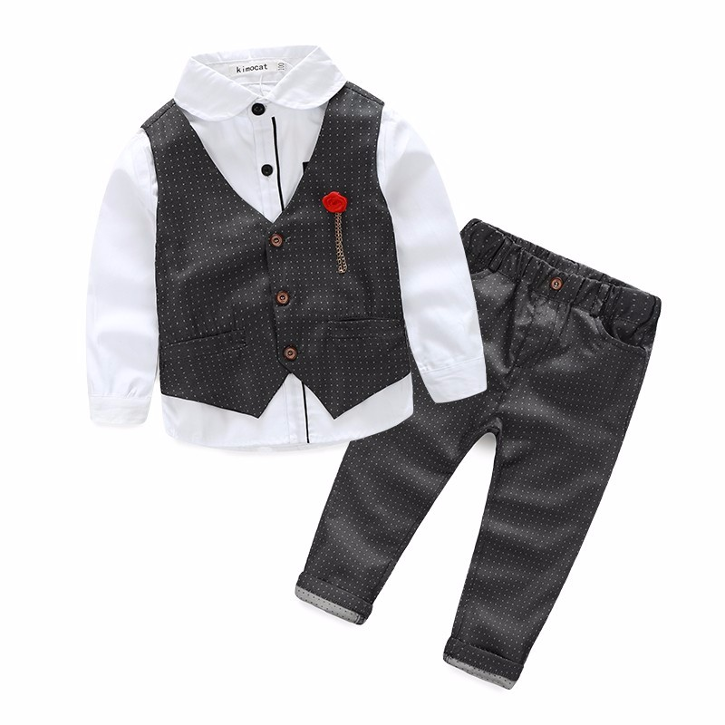 Boys formal Clothing Sets Autumn Spring Boys Wedding Clothes Kids Gentleman Leisure Handsome Suit Wedding Suits цены онлайн