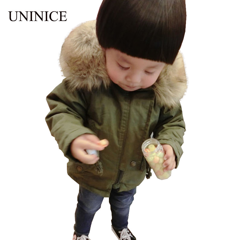UNINICE Big Fur Collar Hooded Winter Jacket Boys Navy Green Cotton Coat Children Warm Thick Jackets with Zipper Outerwear Autumn new winter girls boys hooded cotton jacket kids thick warm coat rex rabbit hair super large raccoon fur collar jacket 17n1120