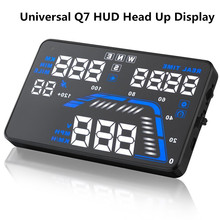 Универсальный Q7 5.5 «Автомобилей HUD Head Up Display Спидометров Автомобилей Превышения Скорости GPS Предупреждение Приборной Панели Лобового Стекла Проектор Светоотражающая Пленка