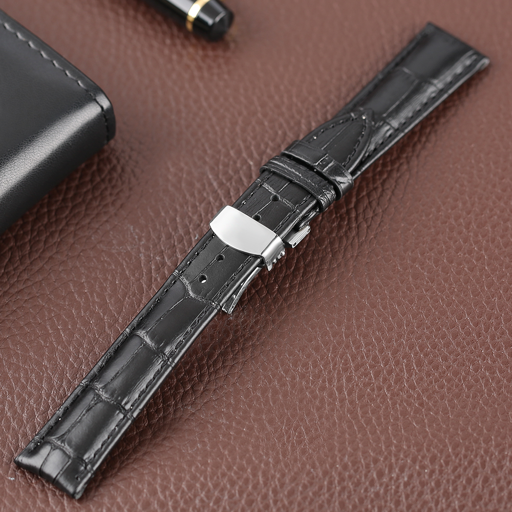 18/ 20/ 22mm Watch Strap Band Genuine Leather Soft Bracelet Watchband Outdoor Black Replacement Stainless Steel Butterfly Buckle high quality 20 22 24mm military nylon army green soft belt bracelet replacement pin buckle sport outdoor watch strap band