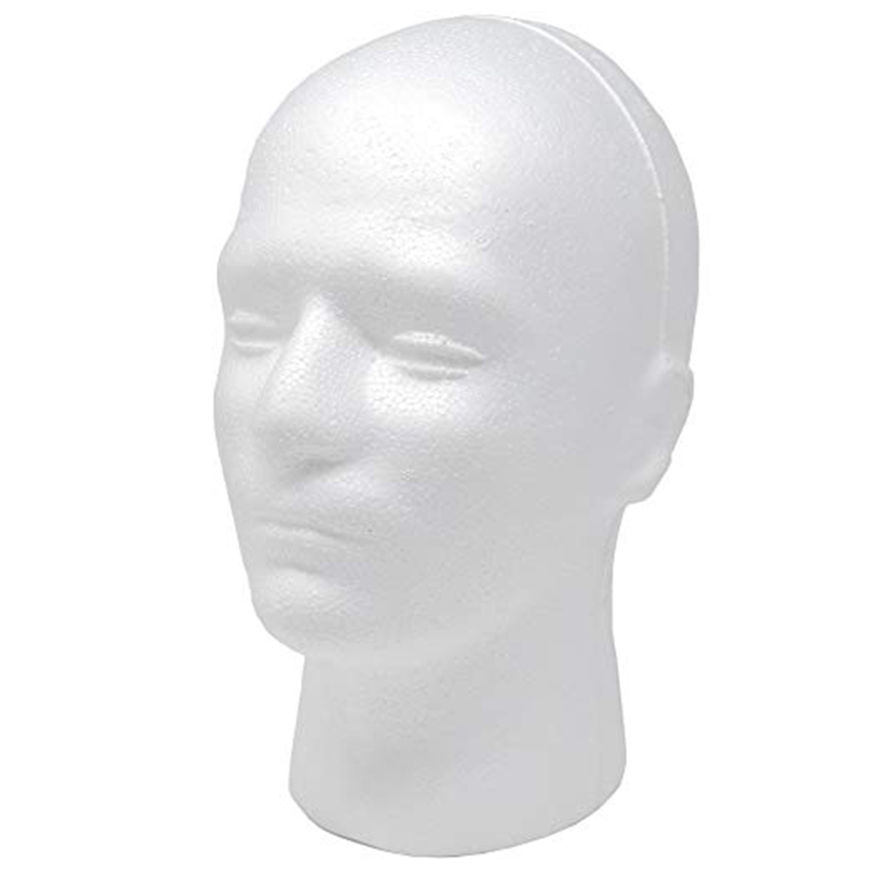 White Foam Head Model Stand Model Styrofoam Male Wig Display Mannequin Head wig display head