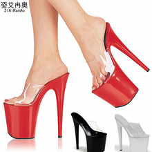 Summer Slides Transparent Women Sandals 15 17 20 CM Party Wedding High Heels Crystal 10 CM Platform Shoes Woman Big Size Pumps