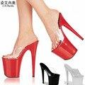 Toboganes de verano Sandalias de Las Mujeres Transparentes 15 17 20 CM Del Banquete de Boda zapatos de Tacón alto de Cristal 10 CM Zapatos de Plataforma Mujer Bombas de Gran Tamaño