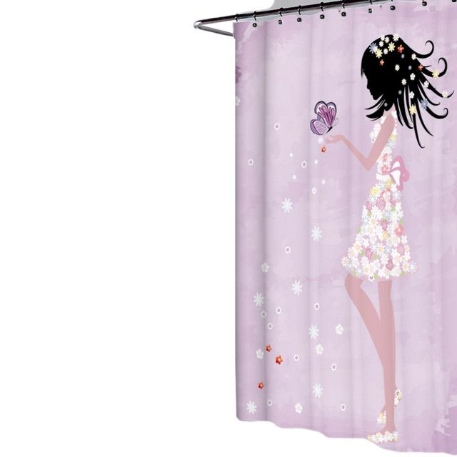 Fabric Polyester Butterfly Princess Printing Shower Curtain Waterproof  Partition Curtain