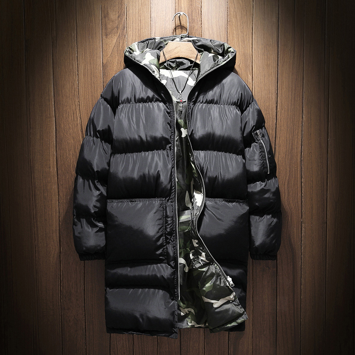Winter wear on both sides long hooded cotton men jacket hoodies outwear Warm Coat Male camouflage long Men casual parkas jackets фил коллинз phil collins both sides 2 lp