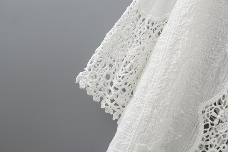 Hollow Out White Lace Blouse Kimono Summer 2019 Cotton Loose Woman Shirt Fashion Half Sleeve Kimono Cardigan Blouses Women 1806 11