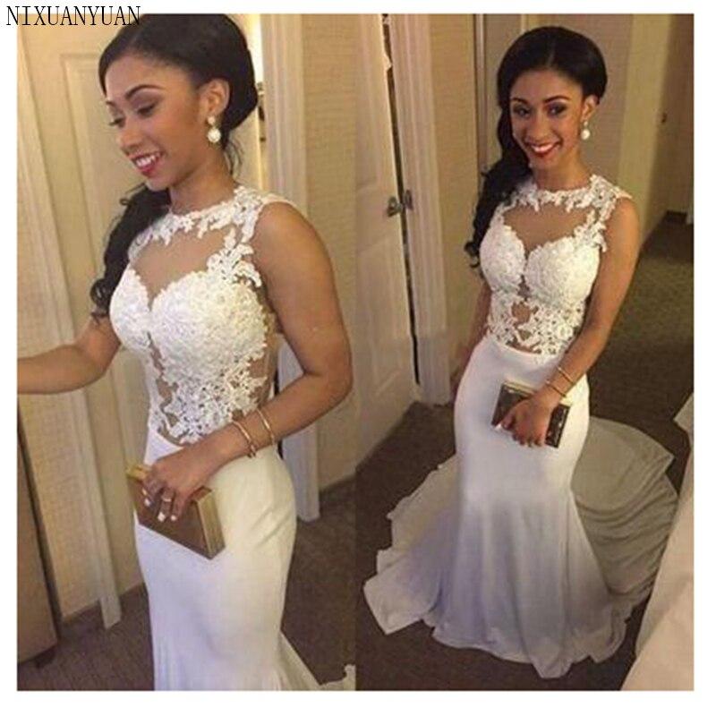 2019 robe de mariée Appliques dentelle sirène robe de mariée avec Train blanc/ivoire dos nu plage robes de mariée