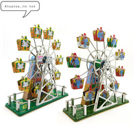 1Pc Vintage Retro Collection Tin toys Classic Clockwork Wind Up Music ferris wheel Tin Toys For Adult Kids Collectible Gift