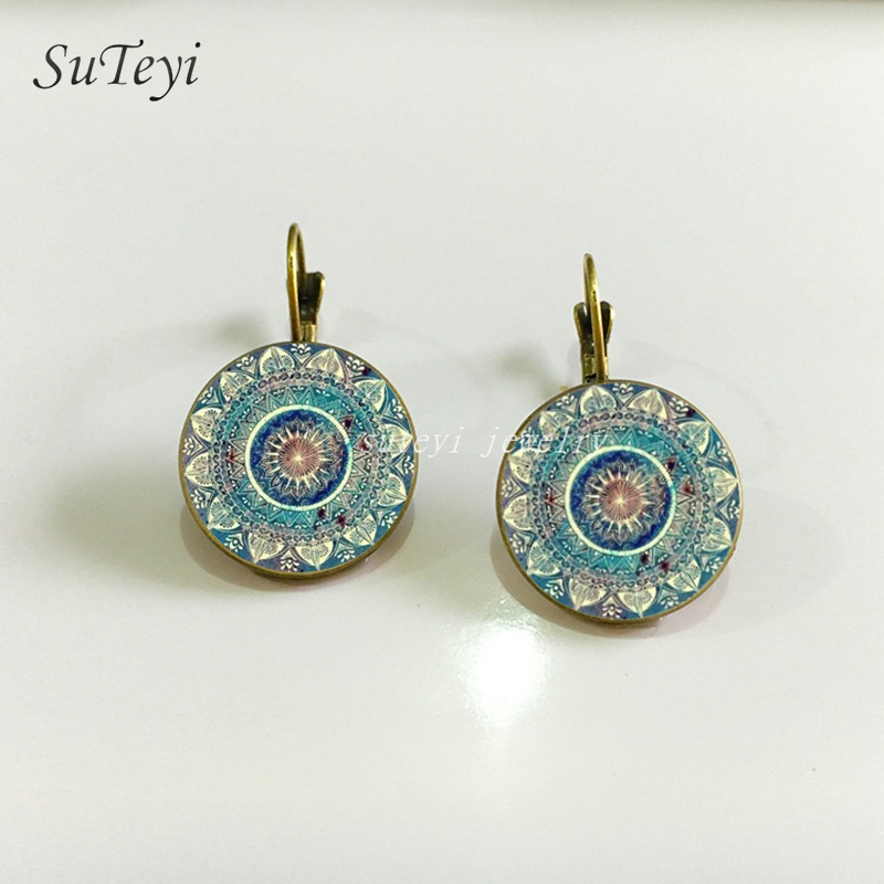 SUTEYI Charm Mandala Art Picture Earrings Henna Crystal Earring Yoga Om Symbol Zen Buddhism Glass Earrings