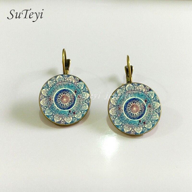 Charm Mandala Art Deco Earrings Vintage