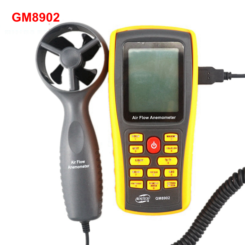 GM8902 Digital Anemometer Wind Air Speed Meter 0~45m/s Air velocity Flow Tester Temperature Measuring with USB portable 0 45m s digital anemometer high precision lcd display wind speed air velocity temperature measuring meter