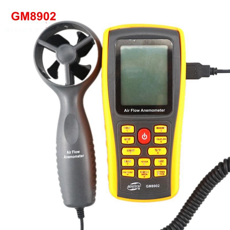 GM8902 Digital Anemometer Wind Air Speed Meter 0~45m/s Air velocity Flow Tester Temperature Measuring with USB tl 300 digital lcd air temperature anemometer air velocity wind speed meter
