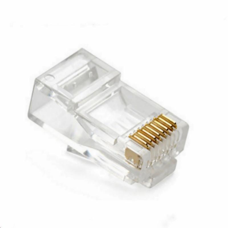 Прозрачный 8-контактный Модульный штекер RJ45, стандартный адаптер сетевого кабеля, 50 шт./100 шт. для Cat5 Cat5e Cat6 Rj 45, разъемы для кабеля Ethernet