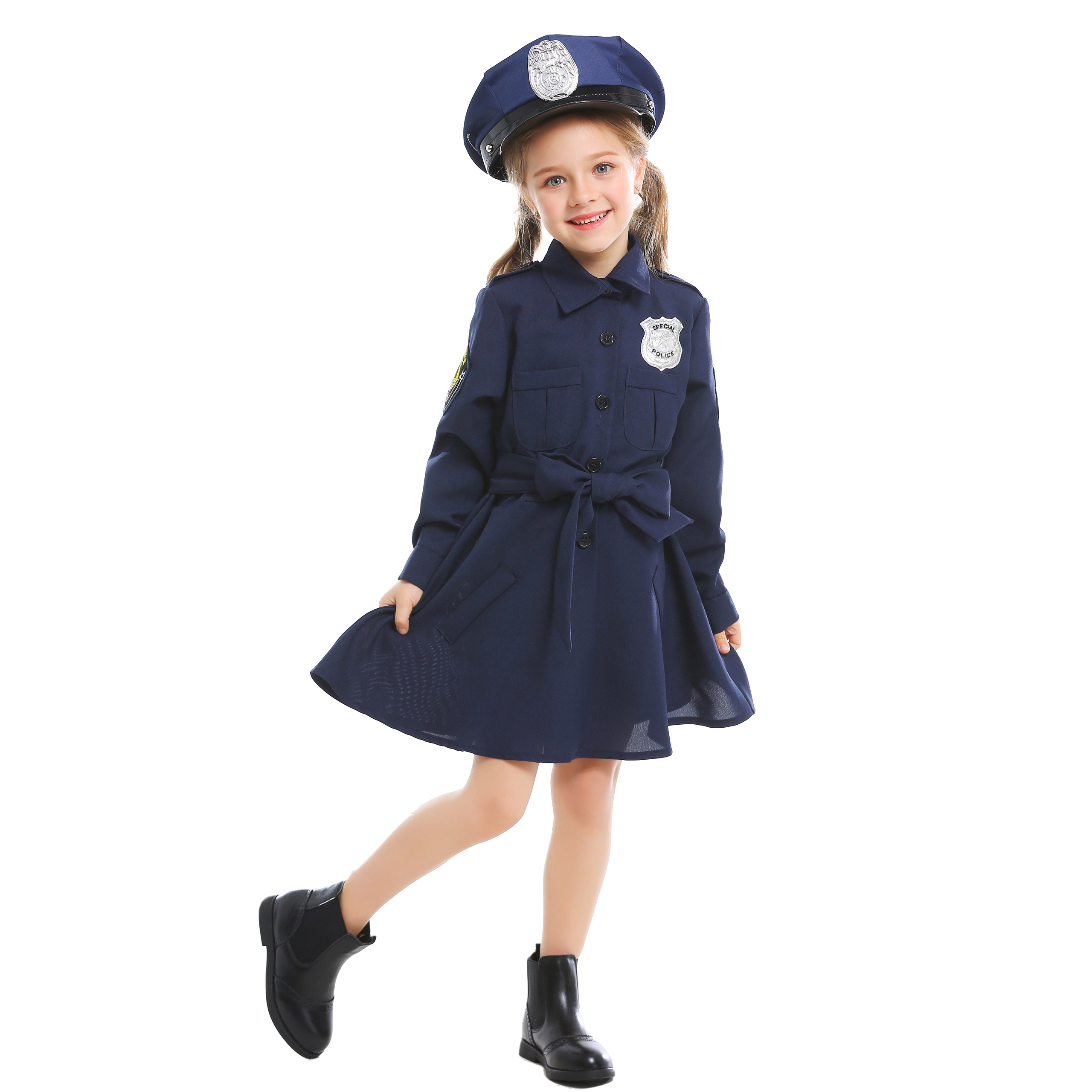 3PCs Girls Police Uniform Dress Classic Police Officer Cosplay Costume with Hat Belt
