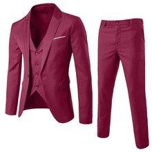 3 предмета, Мужской Блейзер, костюм для свадьбы, приталенный(пиджак+ офис, вечерние костюмы для жениха, корейский мужской костюм с брюками, жилет, 3XL